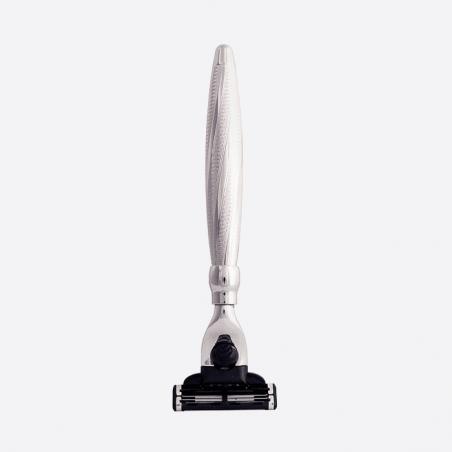 Solid brass spiral mach3 razor - Palladium Finish thumb-2