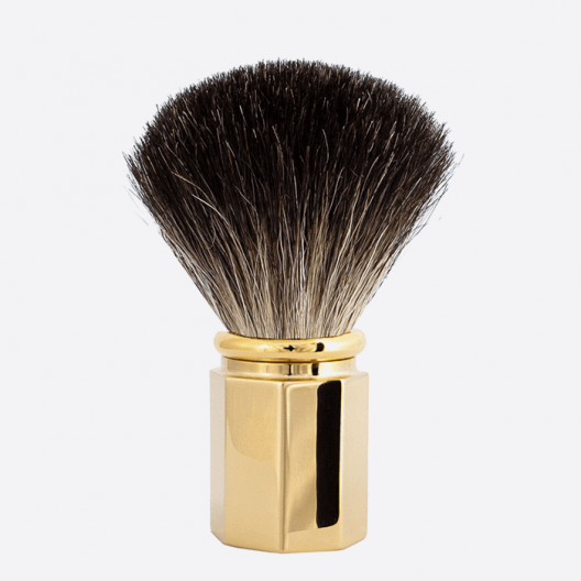 Shaving Brush Octagonal Pure Black - 3 finishes