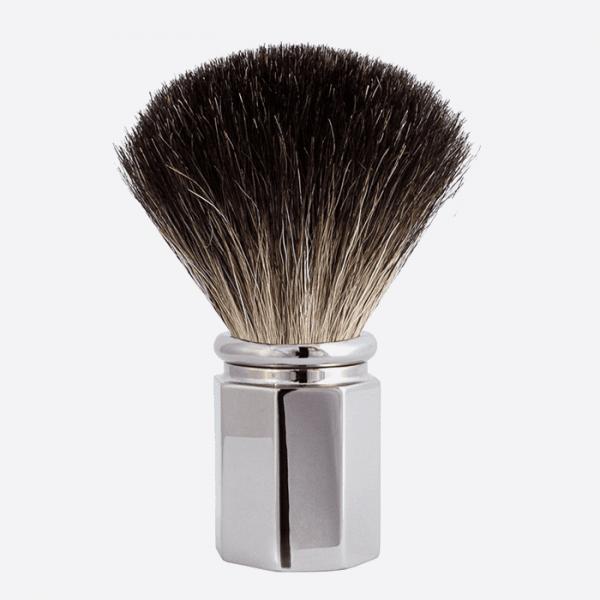 Shaving Brush Octagonal Pure Black -...