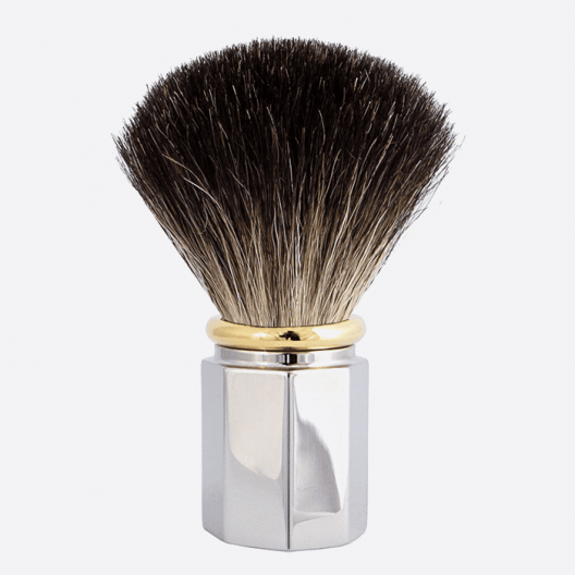 Shaving Brush Octagonal Pure Black - 3 finishes