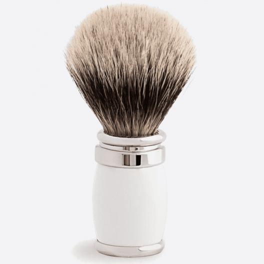 Joris Shaving Brush European White Lacquer and Palladium - 4 colours