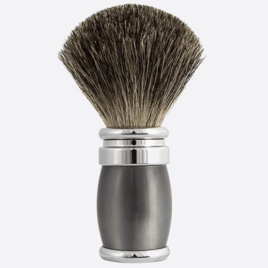 Brocha de afeitar de laca gris perla y paladio