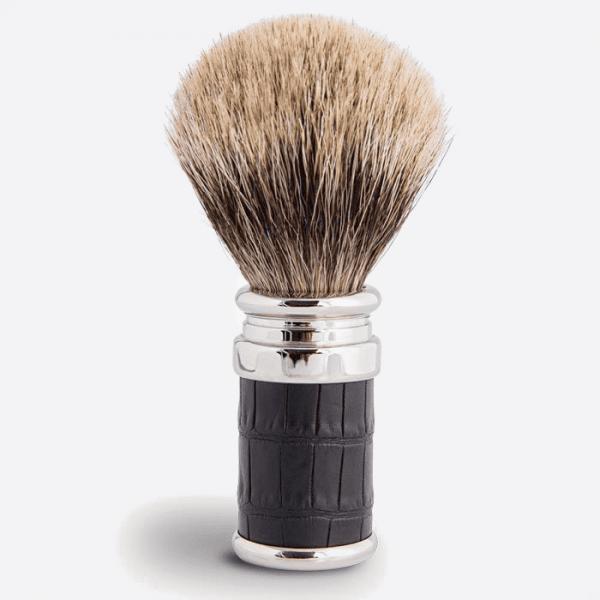 Shaving Brush Croco Black & Palladium