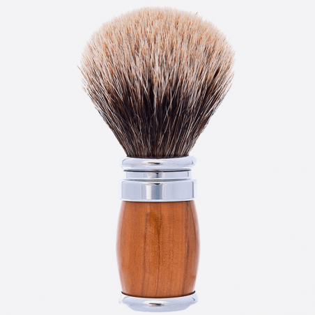 Olive Wood and Palladium European Grey Shaving brush thumb-1