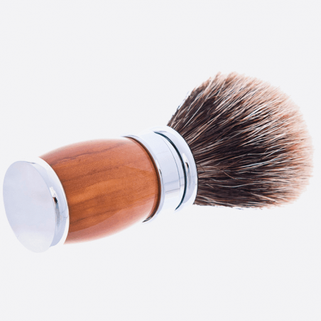 Olive Wood and Palladium European Grey Shaving brush thumb-2