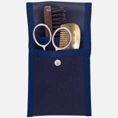Beard and moustache set : comb, brush and scissors