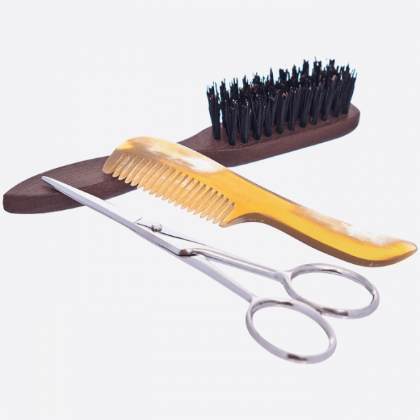 Beard and moustache set : comb, brush...