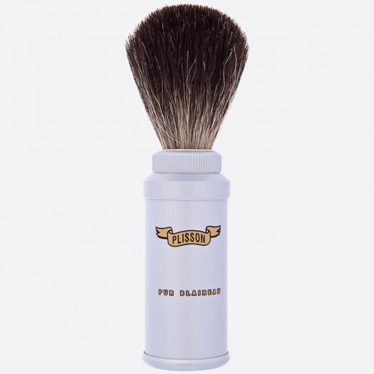 Pure black travel shaving brush