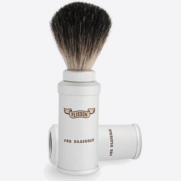 Pure black travel shaving brush