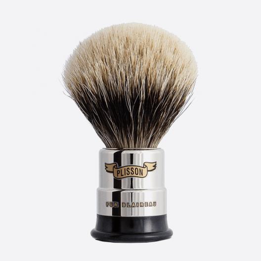Nickeled copper Shaving brush - European grey badger