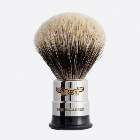 Nickeled copper Shaving brush - European grey badger thumb-0