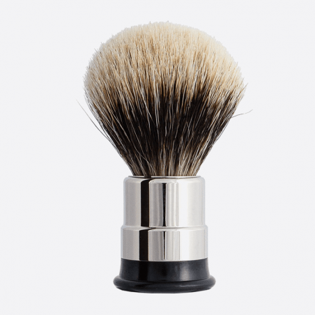 Nickeled copper Shaving brush - European grey badger thumb-1