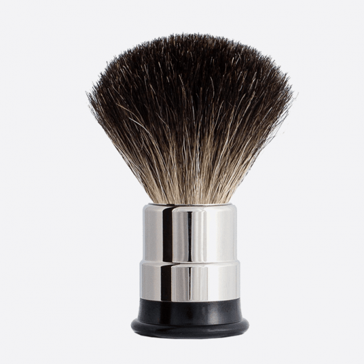 Nickeled copper Shaving brush - Pure Black badger