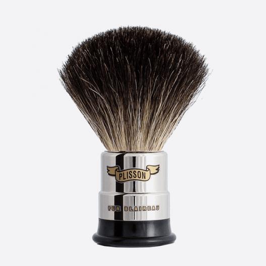 Nickeled copper Shaving brush - Pure Black badger