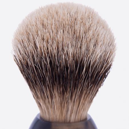 Rasierpinsel, Horn, weisses Haar Silberspitz thumb-1