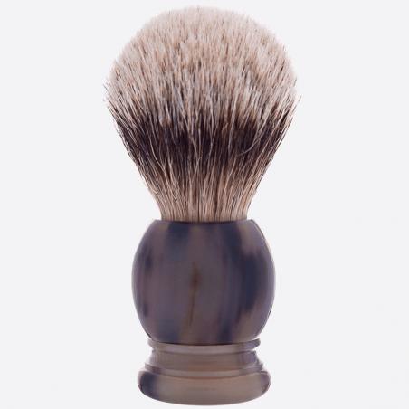 Rasierpinsel, Horn, weisses Haar Silberspitz thumb-3