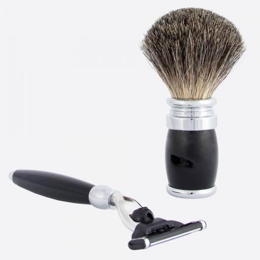 Shaving set black & chrome