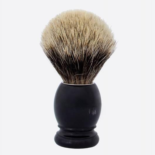 Original Rasierpinsel aus echtem Schwarzes Horn - europäisches Grau