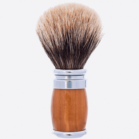 Olive Wood and Chrome Joris Shaving brush - European Grey thumb-0