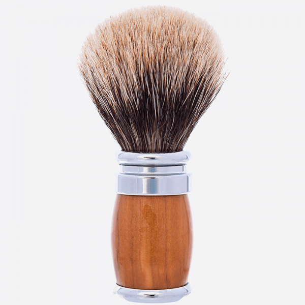 Olive Wood and Chrome Joris Shaving brush - European Grey