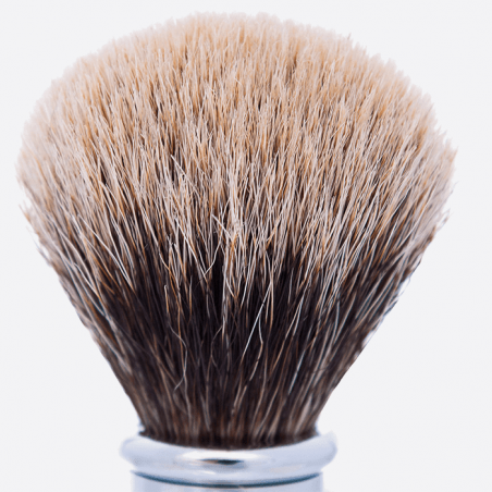 Olive Wood and Chrome Joris Shaving brush - European Grey thumb-1