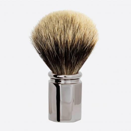 Brocha de afeitar Octagonal Gris Europeo - Acabado de Rutenio
