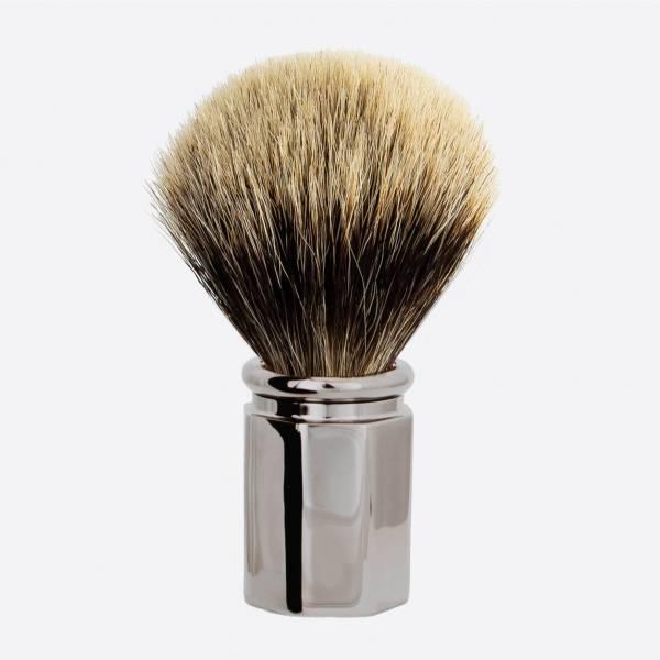 Octagonal Ruthenium finish Shaving Brush in European Grey
