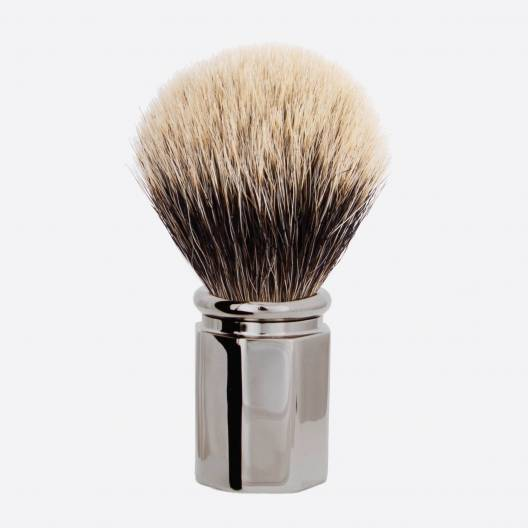 Octagonal Ruthenium finish Shaving Brush in European White