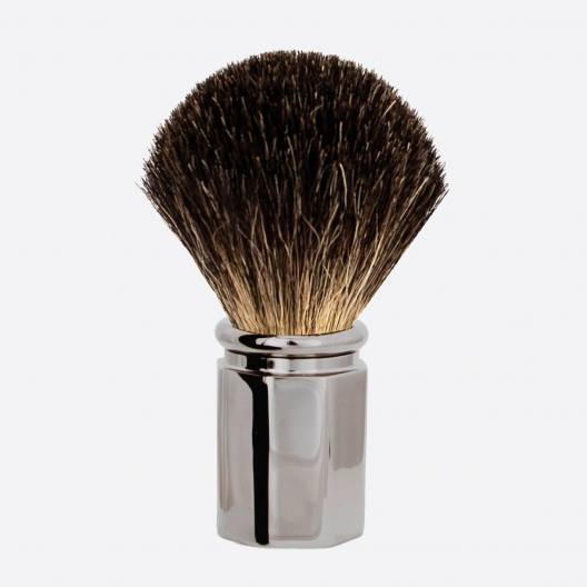 Octagonal Ruthenium finish Shaving Brush in Pure Black