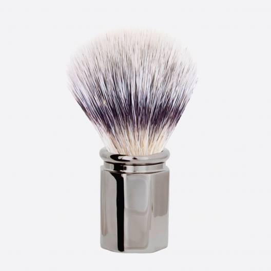 """Brocha de afeitar Octagonal fibra """" Blanco de alta montaña """" - Acabado de Rutenio"""