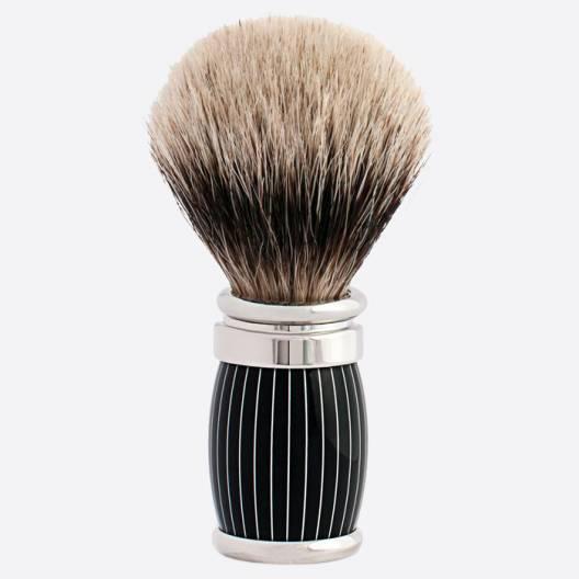 Joris Pure White European Shaving Brush Retro Lacquer and Palladium Finish
