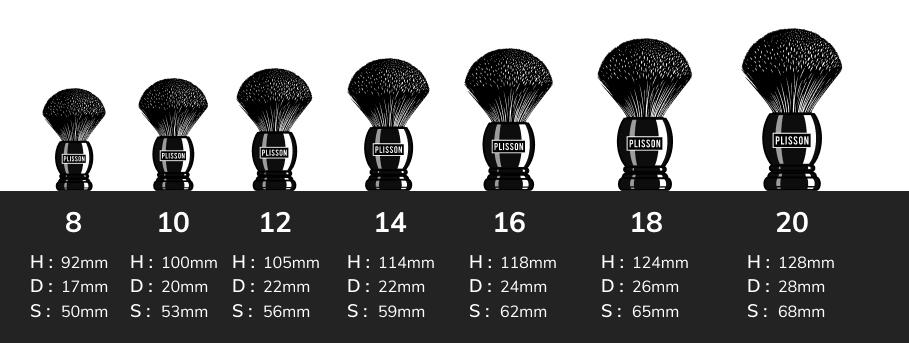 Guide des tailles blaireaux Plisson